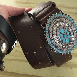unknown Accessories - Faux leather turquoise studded western style belt